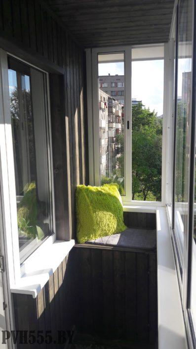 Отделка балкона вагонкой покраска и сборка мебели