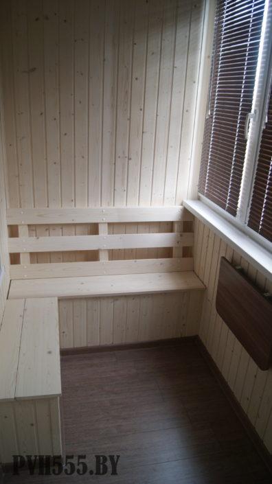 Отделка балкона вагонкой покраска и монтаж мебели